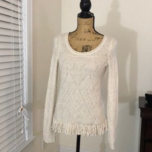 Anthropologie Moth Ivory fringed sweater